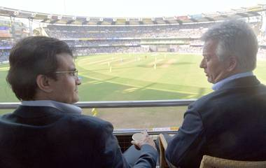 Sourav Ganguly Steve Waugh Reconnect At Wankhede Sportstar